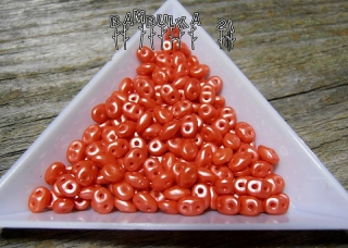 SuperDuo - 2,5mm x 5mm, Alabastr PEARL SHINE LIGHT CORAL
